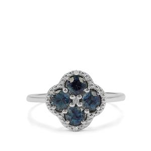 Australian Blue Sapphire Ring with Diamond in 9K White Gold 1.03cts