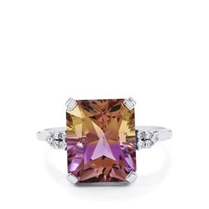 Anahi Ametrine Ring with White Diamond in 14K White Gold 5.68cts