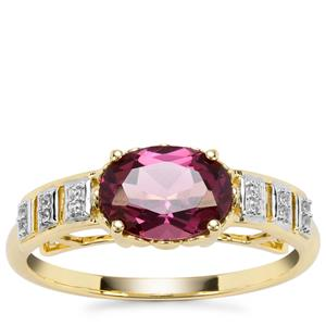 Morogoro Garnet Ring with White Zircon in 9K Gold 1.48cts