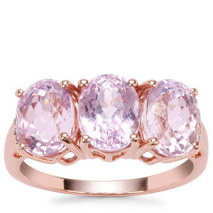 Nuristan Kunzite Ring with White Zircon in 9K Rose Gold 5.61cts