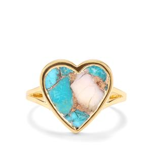 4.14ct Kingman Turquoise with Pink Opal Vermeil Ring