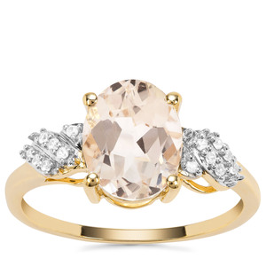 Champagne Danburite Ring with White Zircon in 9K Gold 2.61cts