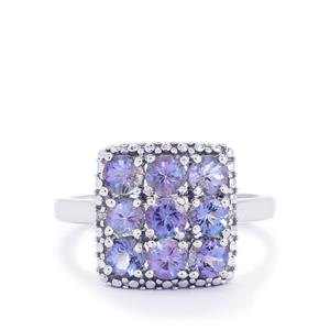 AA Tanzanite & Diamond Sterling Silver Ring ATGW 1.70cts