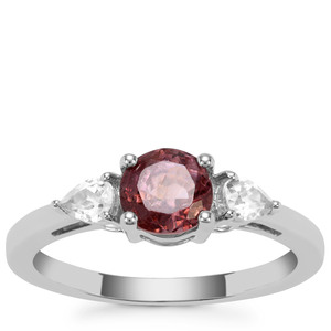 Burmese Pink Spinel & White Zircon Sterling Silver Ring ATGW 1.38cts