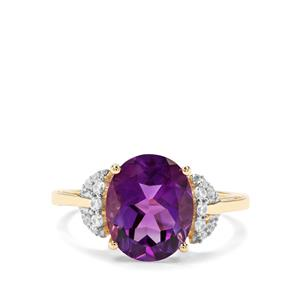 Moroccan Amethyst & White Zircon 9K Gold Ring ATGW 3.36cts