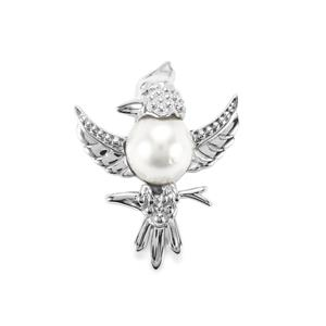 South Sea Cultured Pearl Pendant in Sterling Silver (12mm x 10mm)