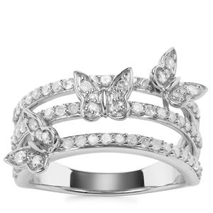 Diamond Butterfly Design Ring in Sterling Silver 0.75ct