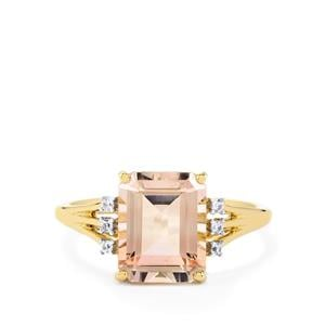 Rose Danburite Ring with White Zircon in 10k Gold 3.51cts