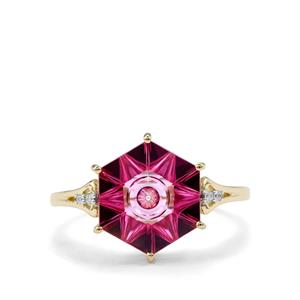Lehrer QuasarCut Pink Topaz Ring with Diamond in 10K Gold 3.86cts