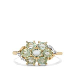 Paraiba Tourmaline Ring with Diamond in 10k Gold 1.12cts