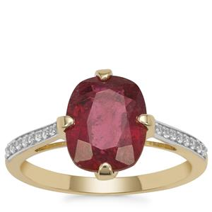 Nigerian Rubellite Ring with White Zircon in 9K Gold 3.30cts