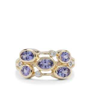 AA Tanzanite Ring with White Zircon in 9K Gold 1.70cts