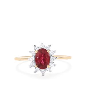 Cruzeiro Rubellite Ring with White Zircon in 9K Gold 1.24cts