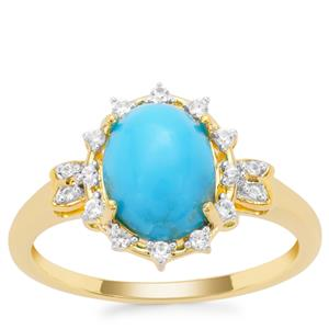 Sleeping Beauty Turquoise Ring with White Zircon in Gold Plated Sterling Silver 1.82cts