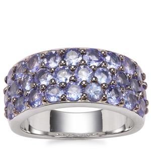 Tanzanite Ring in Platinum Plated Sterling Silver 3.22cts