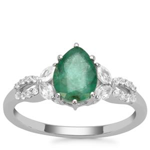 Carnaiba Brazilian Emerald Ring with White Zircon in 9K White Gold 1.40cts