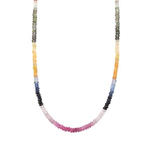 Rainbow Sapphire Graduated Bead Necklace in Platinum Plated Sterling Silver 42cts