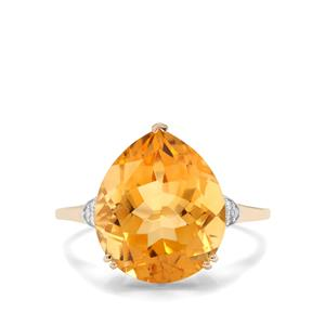 Diamantina Citrine Ring with Diamond in 10k Gold 6.77cts
