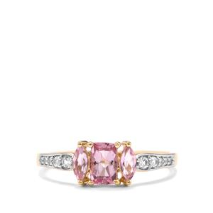 Imperial Pink Topaz & White Zircon 9K Gold Ring ATGW 1.03cts