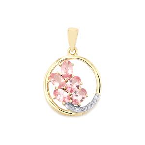Mozambique Pink Spinel Pendant with Diamond in 9K Gold 1.32cts