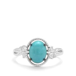 Sleeping Beauty Turquoise & White Zircon Sterling Silver Ring ATGW 1.74cts