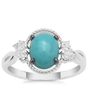 Sleeping Beauty Turquoise Ring with White Zircon in Sterling Silver 1.74cts