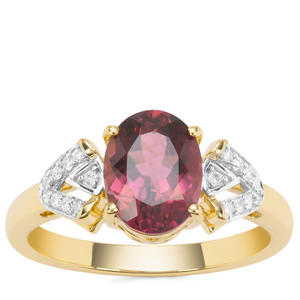 Congo Rubellite Ring with Diamond in 18K Gold 1.98cts