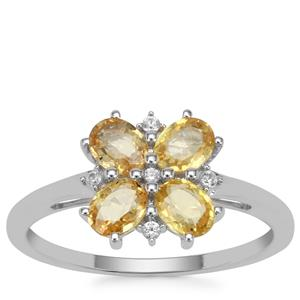 Tanzanian Canary Sapphire Ring with White Zircon in 9K White Gold 1.30cts