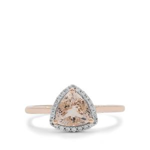 Nigerian Morganite Ring with White Zircon in 9K Rose Gold 1.20cts