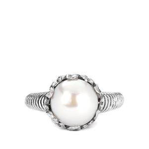 Cultured Pearl (9.50mm) Samuel B Ring in Sterling Silver