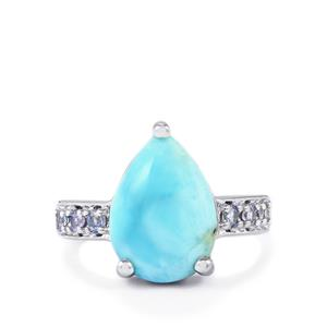 Larimar Ring with Tanzanite in Sterling Silver 5.15cts