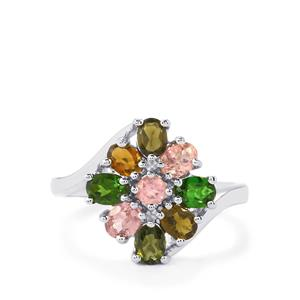 Rainbow Tourmaline Ring in Platinum Plated Sterling Silver 1.42cts
