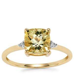 Chartreuse Sanidine Ring with White Zircon in 10k Gold 1.39cts