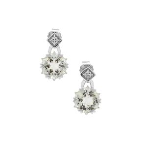 Wobito Snowflake Cut Prasiolite Earrings with Diamond in 9K White Gold 4.25cts