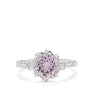 Natural Brazilian Kunzite & White Zircon Sterling Silver Ring ATGW 2.75cts