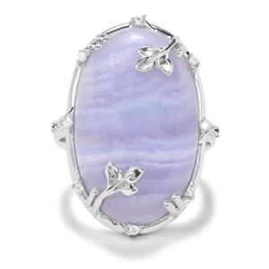 Blue Lace Agate, Blue Diamond & White Zircon Sterling Silver Ring ATGW 19.69cts