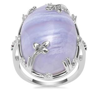 Blue Lace Agate, Blue Diamond Ring with White Zircon in Sterling Silver 19.69cts