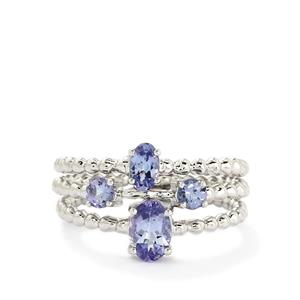 1.09ct Tanzanite 10K White Gold Set of 3 Ring
