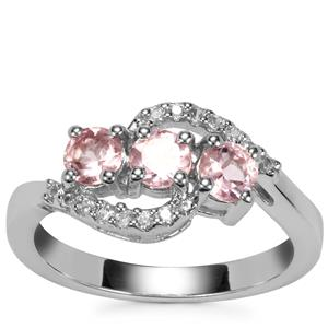 Kaffe Tourmaline Ring with White Zircon in Sterling Silver 0.97ct