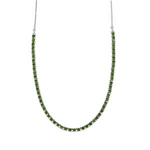 7ct Chrome Diopside Sterling Silver Slider Necklace