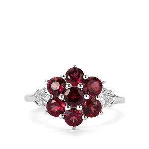 Tocantin Garnet Ring with White Zircon in Sterling Silver 2.42cts