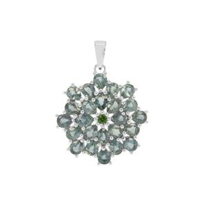 Natural Umba Sapphire Pendant with Chrome Diopside in Sterling Silver 6.89cts