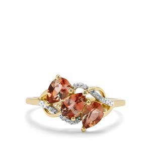 Sopa Andalusite & Diamond 9K Gold Ring ATGW 1.24cts