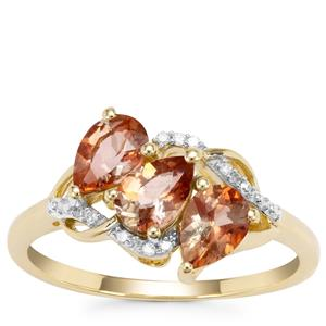 Sopa Andalusite Ring with Diamond in 9K Gold 1.24cts