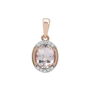 Nigerian Morganite Pendant with White Zircon in 9K Rose Gold 1.65cts