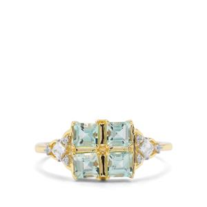 Aquaiba™ Beryl & White Zircon 9K Gold Ring ATGW 1.03cts