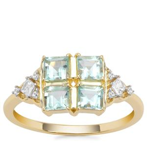 Aquaiba™ Beryl Ring with White Zircon in 9K Gold 1.03cts