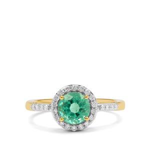 Ethiopian Emerald & Diamond 18K Gold Ring MTGW 1.65cts