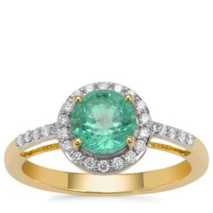 Ethiopian Emerald Ring with Diamond in 18K Gold 1.65cts