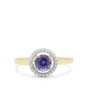 AA Tanzanite Ring with White Zircon in 9K Gold 0.91ct